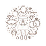 Jewelry shop, diamond accessories banner illustration. Vector line icon of jewels - gold watches, engagement rings, gem Stock Photo