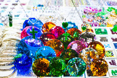 Jewelry at shop display window Royalty Free Stock Images