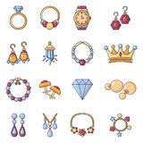 Jewelry shop icons set, cartoon style. Jewelry shop icons set. Cartoon illustration of 16 jewelry shop vector icons for web vector illustration