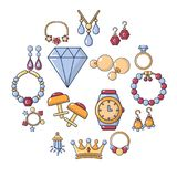 Jewelry shop icons set, cartoon style. Jewelry shop icons set. Cartoon illustration of 16 jewelry shop vector icons for web royalty free illustration