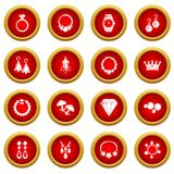 Jewelry shop icons set, simple style. Jewelry shop icons set. Simple illustration of 16 jewelry shop vector icons for web royalty free illustration