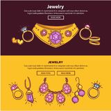 Jewelry Shop Web Banners Or Page Vector Flat Template Design Royalty Free Stock Photo