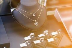 Jewelry shop window display Stock Photos