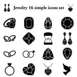 Jewelry 16 simple icons set Stock Photos