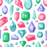 Jewelry stones seamless pattern expensive decoration. Lot of different colourful gemstones on white. Vector background diamond crystal texture geometric Stock Images