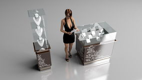 Jewelry store. A 3D design of a jewelry store Royalty Free Stock Photo