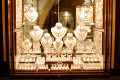 Jewelry store. Show-window in greek town Lindos. Rhodes island Stock Photography