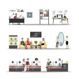 Jewelry store interior. Jewelry store building interior with workshop and customer service royalty free illustration