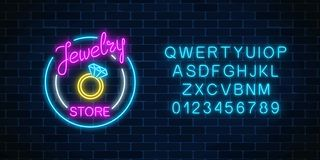 Jewelry store glowing neon signboard with alphabet. Bijou shop advertisement shining sign. Jewelry store glowing neon signboard with alphabet on dark brick wall vector illustration