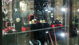 The jewelry store. Jewelry store in hong kong city stock photos