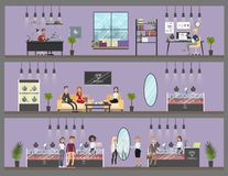 Jewelry store interior. Jewelry store interior with workshop and customer service royalty free illustration