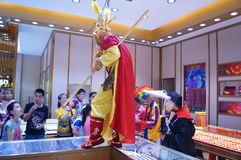 Jewelry store promotions, Sun Wukong performances to attract people. In Xixiang, Shenzhen, china Royalty Free Stock Images
