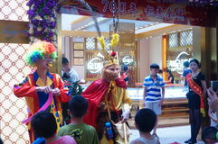 Jewelry store promotions, Sun Wukong performances to attract people Royalty Free Stock Image