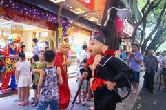 Jewelry store promotions, Sun Wukong performances to attract people. In Xixiang, Shenzhen, china Stock Images