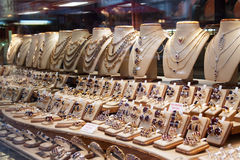 Jewelry in store window royalty free stock image