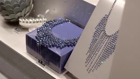Jewelry Store Window. Fashion jewelry displayed in a jewelry store window. Retail industry concept stock video