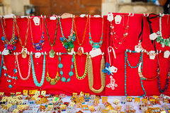 Jewelry at the street market Stock Image