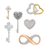 Jewelry symbols of love, luck, fortune Stock Image
