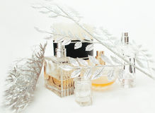 Jewelry table with lot of girl stuff on it, little mess in cosmetic brushes, women interior concept, perfume elegance Royalty Free Stock Photography