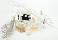 Jewelry table with lot of girl stuff on it, little mess in cosmetic brushes, women interior concept, perfume elegance. Things isolated Stock Photo