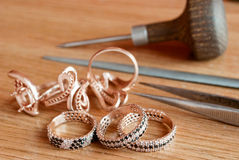 Jewelry and tools Royalty Free Stock Photography