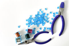 Jewelry Tools With Beads And Wire. Colorful Jewelry Wire With Beads and Tools stock photography