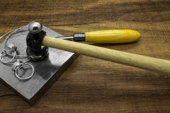Jewelry tools and classic silver rings Stock Images