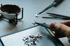 Jewelry tools. Jewellery. Goldsmith workplace, workspace on light background. Hand craft. Workshop. Manufacturing. Weigh Stock Image