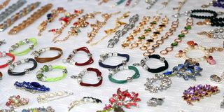 Jewelry and trinkets for sale at  market Royalty Free Stock Photo