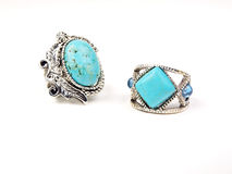 Jewelry - turquoise rings. Turquoise rings on a white background Royalty Free Stock Photography