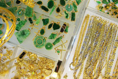 Jewelry in Vietnam. Gold, Silver and jade jewelry in Nha Trang, Vietnam Stock Image