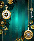 Jewelry watch on a green background royalty free illustration