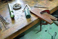 Jewelry. Wax carving table for making jewelry Royalty Free Stock Image