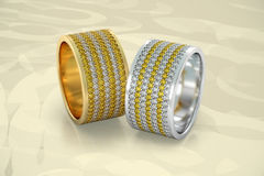 Jewelry wedding bands diamonds rings gold 3D rendering Royalty Free Stock Images