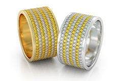 Jewelry wedding bands gold rings with diamonds 3D rendering Stock Photography