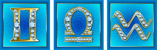 Jewelry zodiac signs air. On a blue background Stock Photography