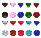 Jewels. 3d render of  jewels of different shades on a white background Stock Photos
