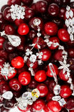 Jewels at cherries. Jewels at fruit red ripe cherries berry background Stock Photo