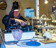 Jewels cutter faceting of gemstone at the Christmas market in Baden-Baden. Germany Stock Photos