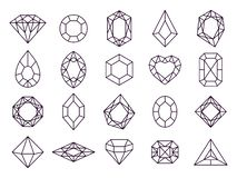 Free Jewels Diamond Icons. Diamonds Gems, Luxury Jewel Gemstones And Precious Gem Isolated Vector Line Icon Set Royalty Free Stock Photos - 139606058