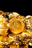 Jewels and gold coins Royalty Free Stock Photos