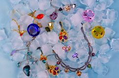 Jewels at ice Stock Photos