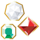 Jewels icons. Diamond, ruby and emerald. Vector illustration Stock Photos