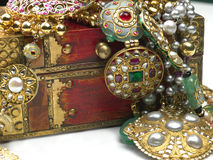 Jewels in the jewelry box Stock Photos