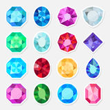 Jewels or precious gem stickers set Stock Images