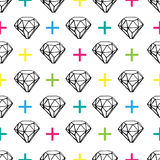 Jewels seamless pattern with crosses. Stock Photo