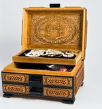 Jewerly Box. Hand Carved Jewerly Box open with Jewely Stock Image