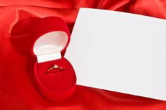 Jewerly  box and empty card Royalty Free Stock Photos