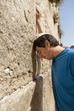 Placing a Note in the Wailing Wall Stock Image