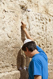 Placing a Note in the Wailing Wall Stock Images